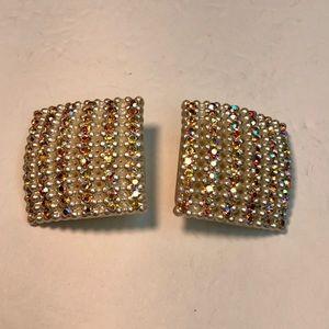 Vintage white square rhinestone pearl earrings